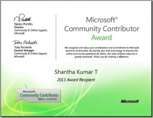 Microsoft Community Contributor - Shantha Kumar T