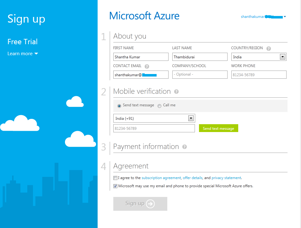 Azure Services Sign Up