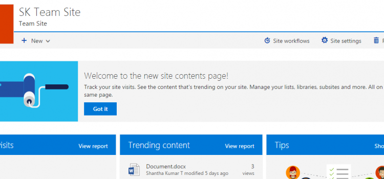 SharePoint Site Contents in modern look