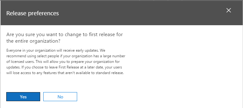 Release Preferences - Confirmation