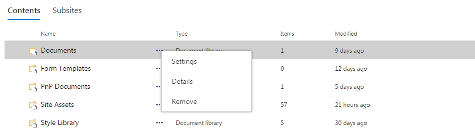 Contents with Context Menu