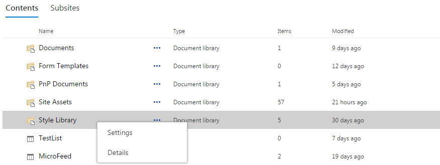 Contents with Context Menu without Remove