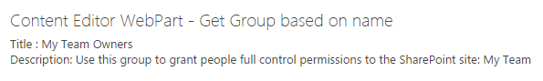 Get SharePoint Group based on name using PnP JavaScript Library