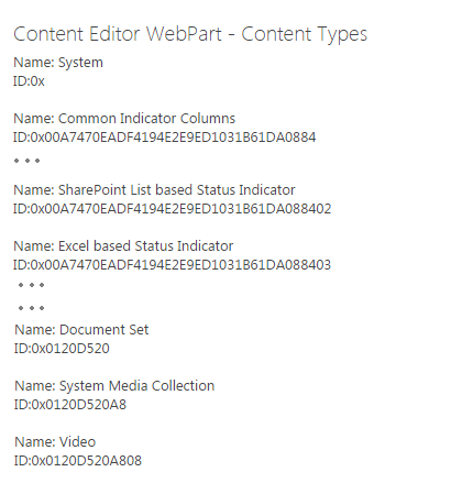 Retrieved web content types using PnP JavaScript Library