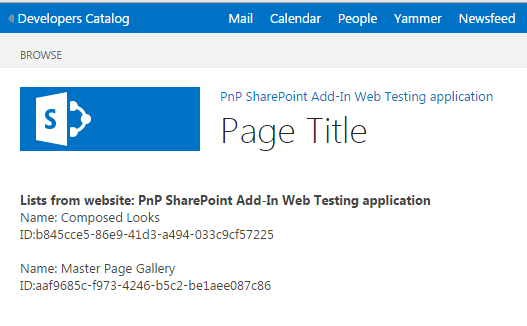 Output shows Add-In Web title & Lists