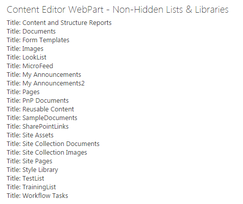 All Visible or Non-Hidden Lists & Libraries