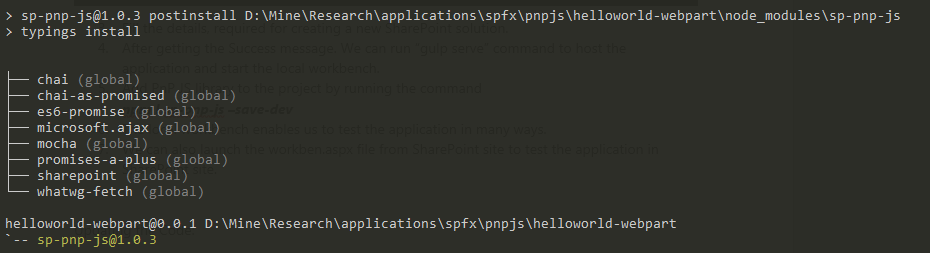 Successfull installation of PnP js and its dependencies