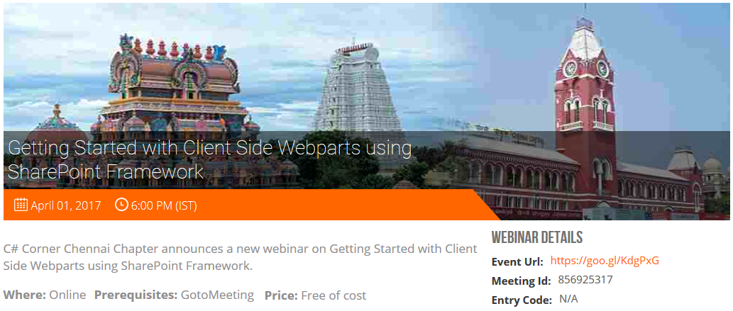 Getting Started with Client Side Webparts using SharePoint Framework - Webinar