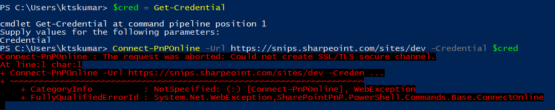 "How to resolve ""Could not create SSL/TLS secure channel"" exception for SharePoint Online when using PnP PowerShell"
