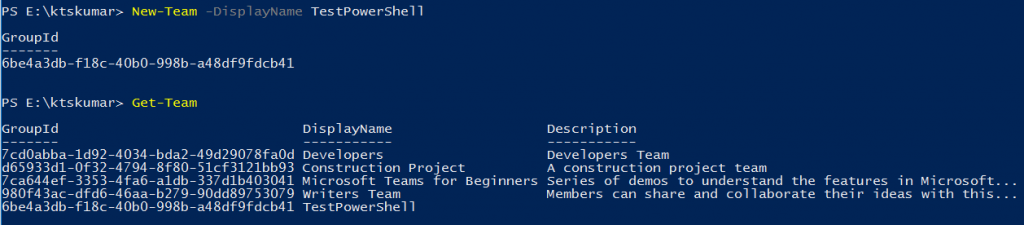 Create a Team using PowerShell