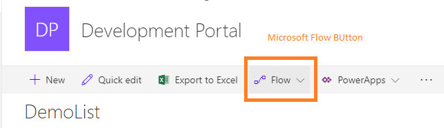 Microsoft Flow is enabled to the SIte