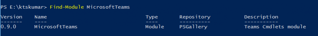Find MicrosoftTeams Module from PowerShell Gallery
