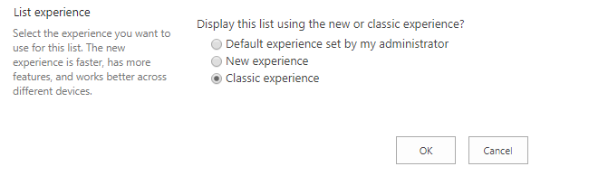 Apply Classic Experience to particular List  from List Settings Page