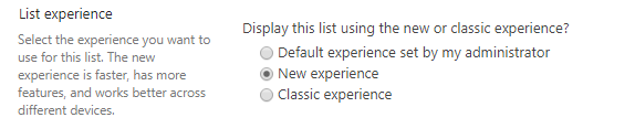 Apply Modern Experience to particular List  from List Settings Page