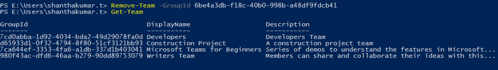 Delete a Team using PowerShell