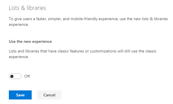 Apply Classic Experience from Modern Admin Center to all Lists across Tenants