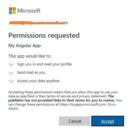 Accept Permissions to run MS Graph application