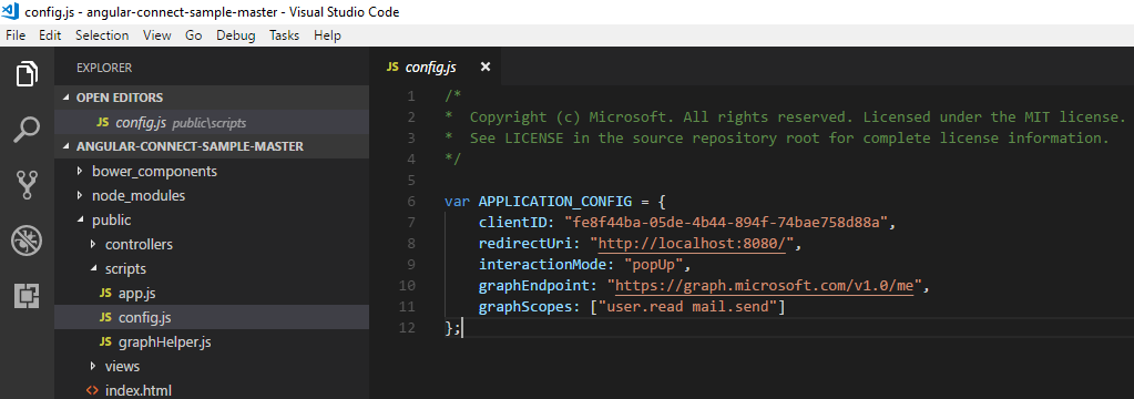 MS Graph Angularjs Sample: Config.js