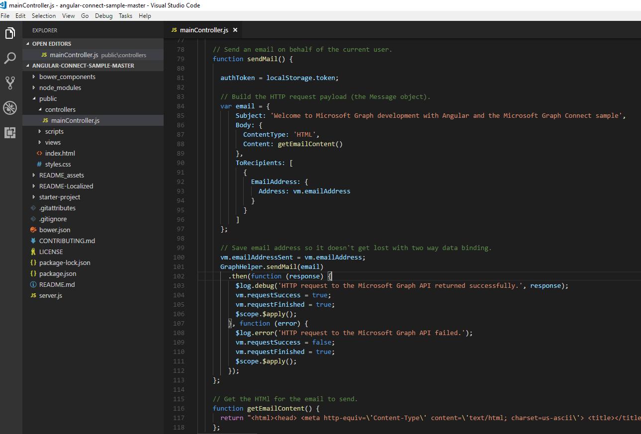 Build Angular js App with Microsoft Graph QuickStart