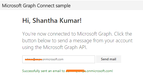 Send Email in MS Graph Angular Sample
