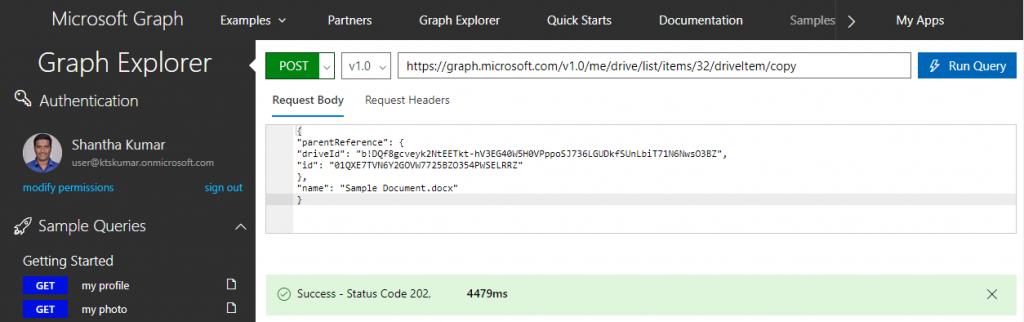 MSGraphExplorer: Document Copied Response