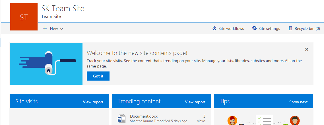 Modern UI SharePoint Site Contents